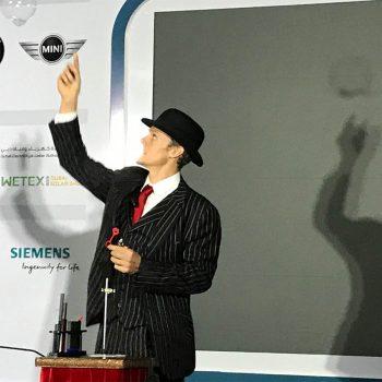 magician using bubbles