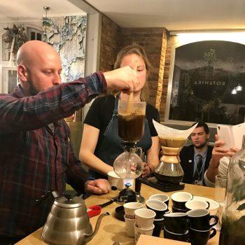Coffee making at Botanika restaurant