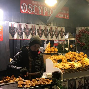 Christmas Market fried cheese in Poland