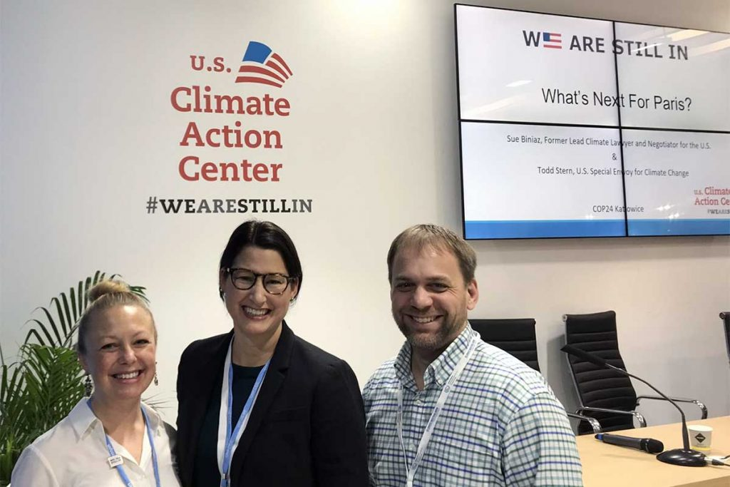Alissa, Alexis, and Jesse cross paths in the We Are Still In U.S. Climate Action Center!