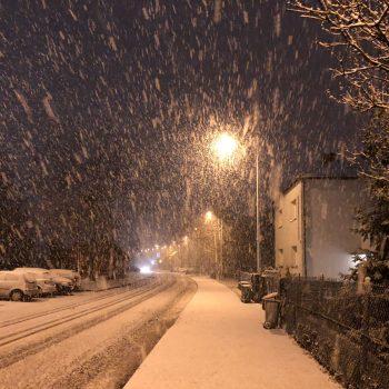 Falling snow in Katowice