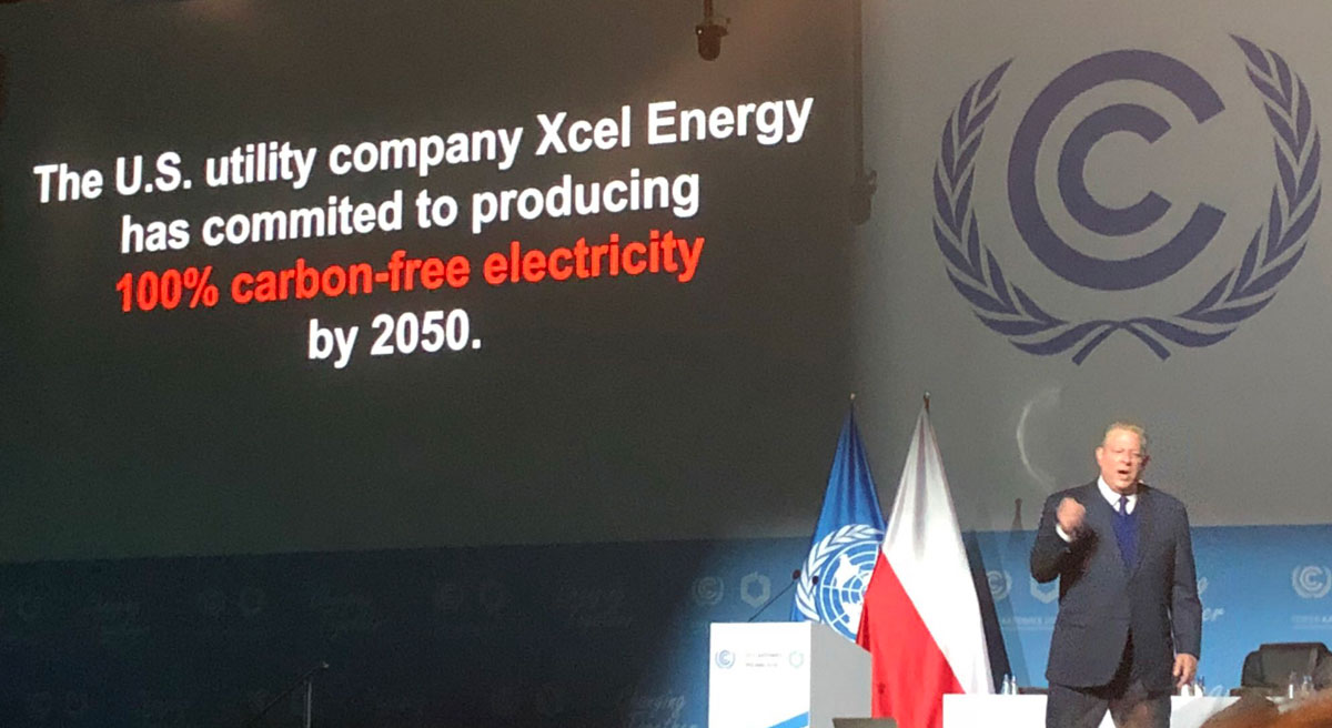 Al Gore presenting on Xcel Energy commitment