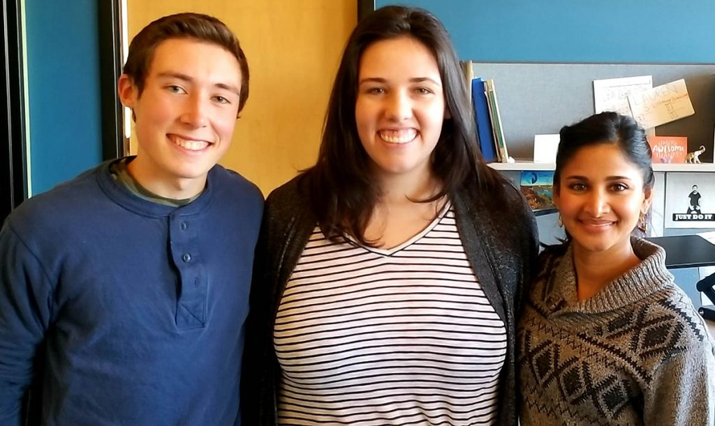 Logan with fellow intern Emily and Jothsna Harris, Public Engagement Manager