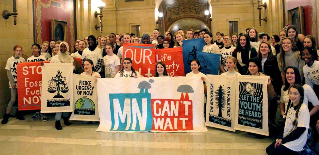 Youth from the MN Can't Wait campaign demanded immediate climate action from Governor Walz at the State Capitol.