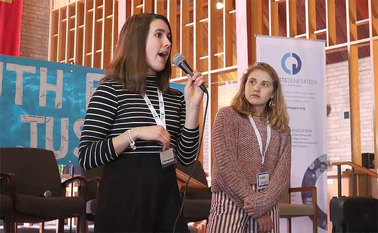 Sophia Manolis and Anna Grace Hottinger speak invite youth to the international youth climate strike.