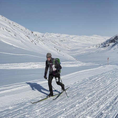 Beckie competing in the Arctic Circle Race, 2014