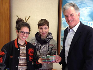South High School students Shira and Etta deliver 404 post cards to Hennepin County Commissioner Peter McLaughlin