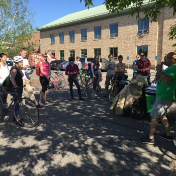 Students and community members leaving for the Toxic Tour Bike Ride, which was organized in collaboration with Tamales y Bicicletas and YEA! MN student leaders.