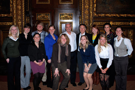 MN students, Will Steger, and WSF staff Abby Fenton pose for a photo with Governor Dayton