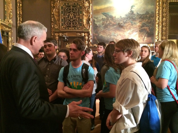 YEA! MN students talk with Governor Dayton following a youth summit this spring