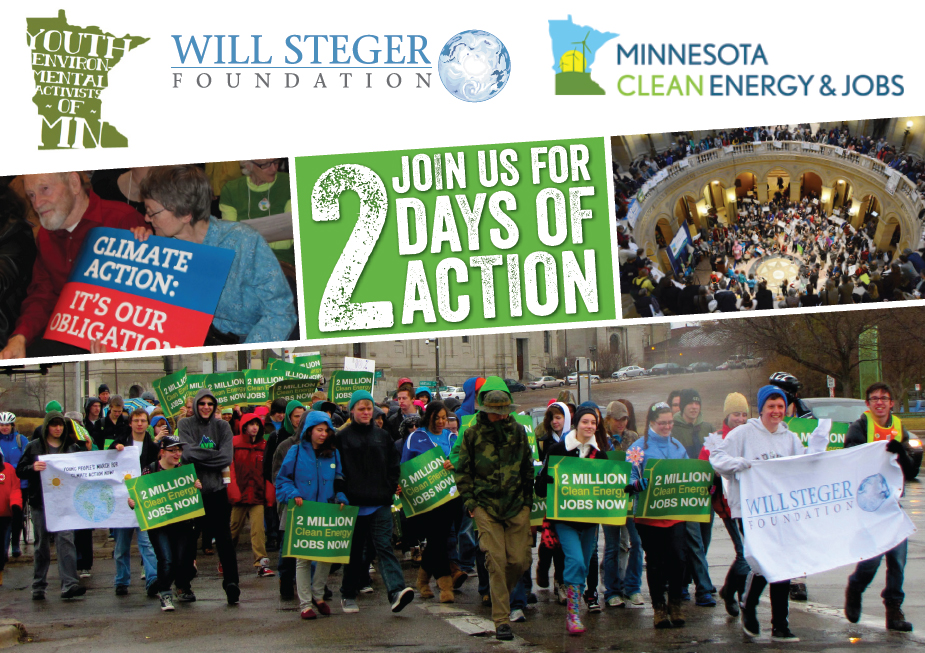 Join us! Youth Lobby Day (March 31) and Clean Energy and Jobs Day of Action at the Minnesota State Capitol – April 14, 3:30 pm